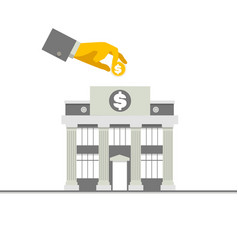 facade of a bank building with columns and hand vector image vector image