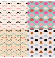 Hipster Seamless Pattern Set vector image