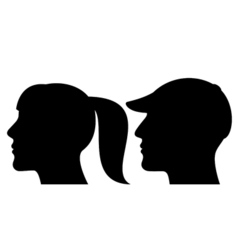 Man and woman face profile silhouette vector image vector image