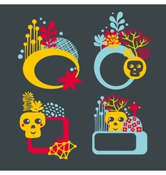 Set of cute banners with skulls and flowers vector image vector image