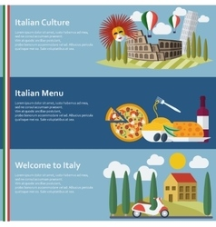Set of flat Italy web banners vector image vector image