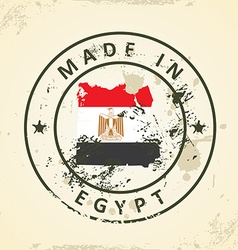 Stamp with map flag of Egypt vector image