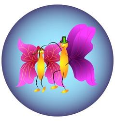 Two butterflies dancing vector image vector image