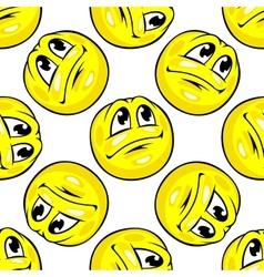 Cartoon yellow emoticons seamless pattern vector image vector image
