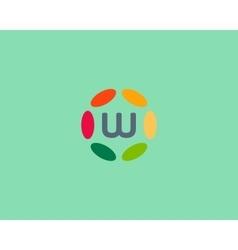 Color letter W logo icon design Hub frame vector image vector image