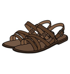 Leather womans low sandals vector image vector image