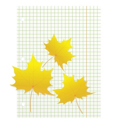 Maple leaves on a writing book in a cage vector image vector image