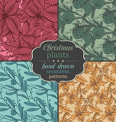 Set of four seamless patterns with hand drawn vector image vector image