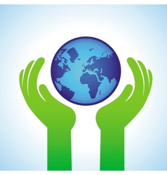ecology concept - hands holding globe icon vector image vector image