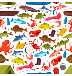 fishes and mollusks fishing seamless vector image