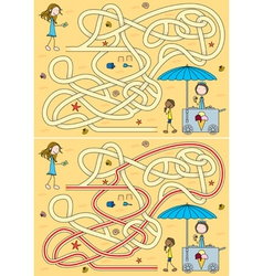 Ice cream maze vector image vector image