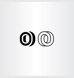 letter o black icon logo elements vector image
