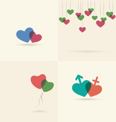Set of four love icons with hearts isolated on vector image