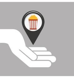 symbol cinema icon pop corn movie design vector image vector image