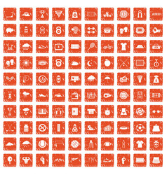 100 tennis icons set grunge orange vector