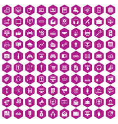100 web and mobile icons hexagon violet vector image