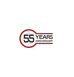 55 years anniversary with circle outline red vector