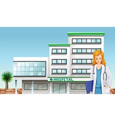 A doctor in front of the hospital building vector