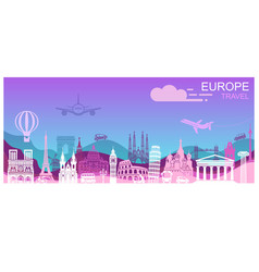 abstract panorama of europe landmarks in style vector image