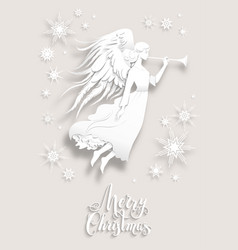 Angel in a snow vector