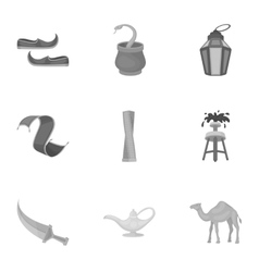 Arab Emirates set icons in monochrome style Big vector