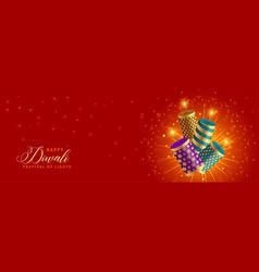 Beautiful happy diwali crackers celebration vector