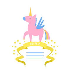 beautiful unicorn card template with place vector image