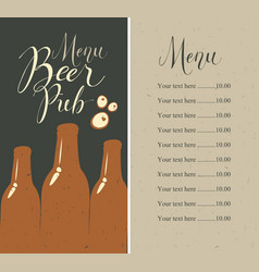Beer pub menu with bottles and price list vector