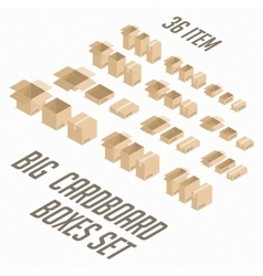 Big cardboard boxes set vector