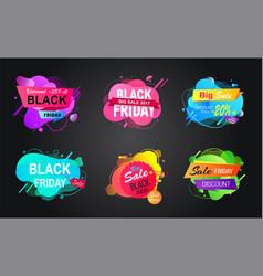 black friday label big discount offer vector image