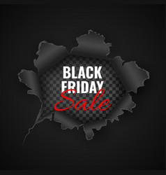 Black friday sale background hole in black paper vector