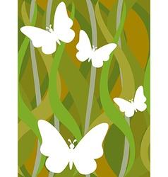 Butterflies on seamless dark green wavy pattern vector image
