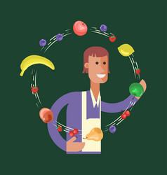 cartoon character fruit seller vector image