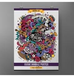 Cartoon hand-drawn doodles Musical poster vector