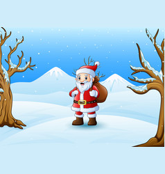 cartoon santa claus standing in the snow with a ba vector image