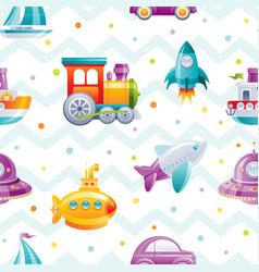 Cartoon toy transport seamless pattern cute 3d vector