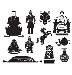 China History Mono Objects Set vector