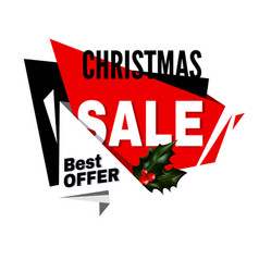 Christmas sale best offer promotional emblem with vector