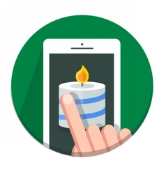 Circle Christmas icon flat candle vector