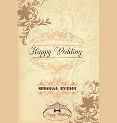 classic wedding card with swirl ornament vector image