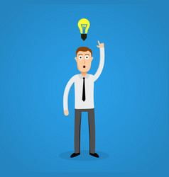 Clever business man and idea bulb vector