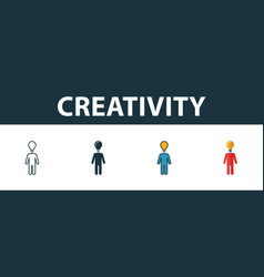 creativity icon set four simple symbols in vector image
