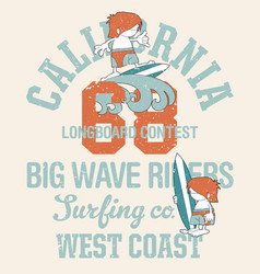 cute kids california surfing company vector image