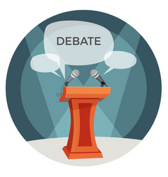 Debate poster with microphones and opinions on vector