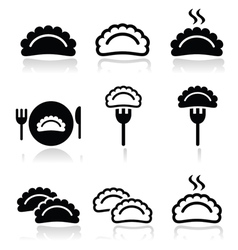 Dumplings food icons set vector image