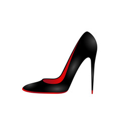 Elegant black womans shoe isolated on white vector