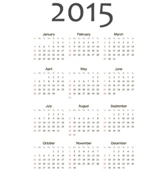 European 2015 year calendar vector