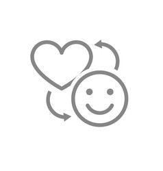 exchange a happiness for a love line icon happy vector image