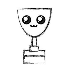 Figure kawaii cute tender prize cup vector