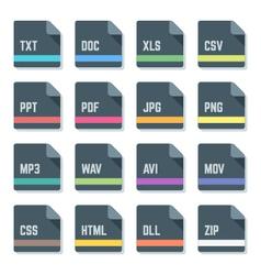 File formats minimal design icons set vector